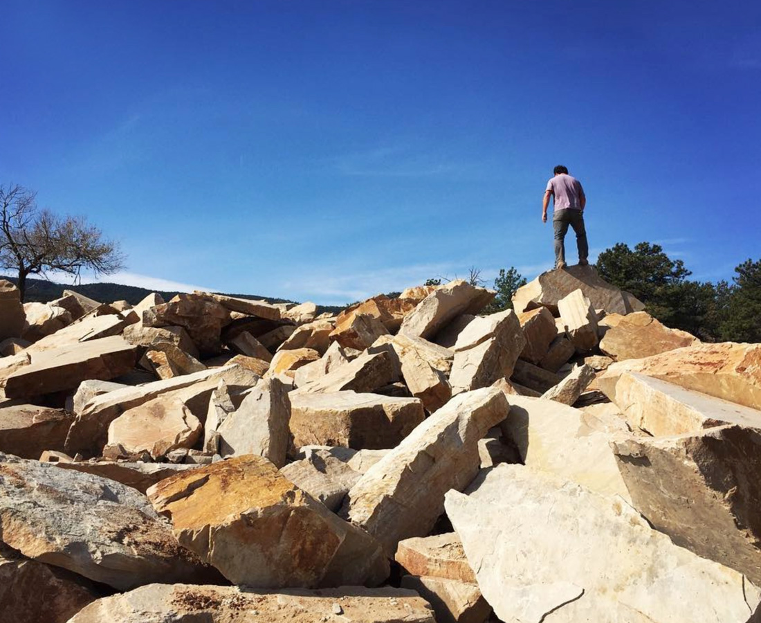 Selecting boulders at the quarry. Contact Rising Star.