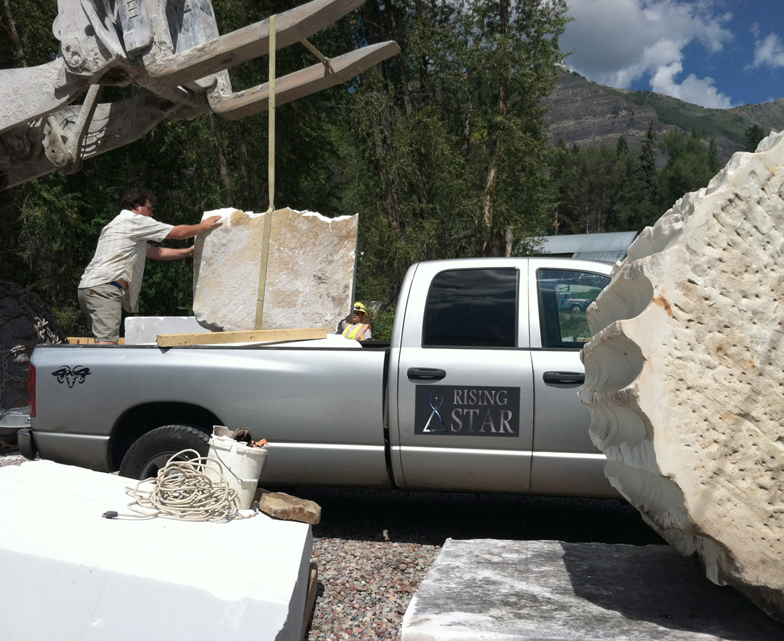 Rising Star truck at the quarry. Contact Rising Star.